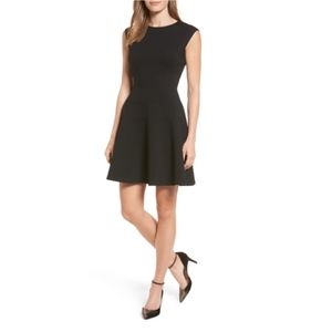 Halogen Ponte Fit & Flare Black Dress Size S